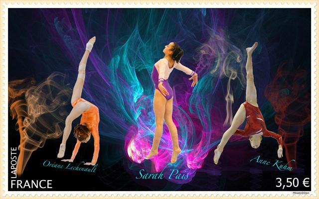 Oreane Lechenault, sarah Pais et Anne Khum, les timbrées de la gymnastique. ©Mika